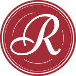 """Script letter """"R"""" on a red circle"""